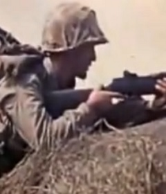U.S. Marine during battle of Iwo Jima.