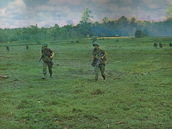 Vietnam War - First Infantry Division.  U.S. Army Infantry soldiers on patrol. Courtesy of First Infantry Division