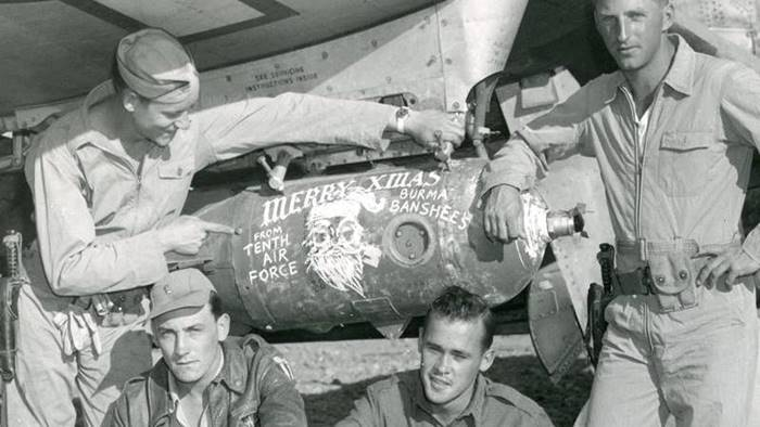 WW2 10th Air Force personnel with bomb