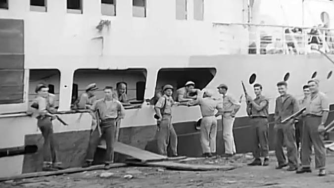 Tachibana Maru ship and guards